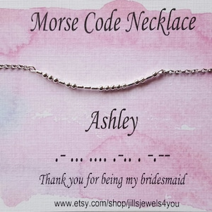 Custom morse code necklace teacher gift teen girl gift graduation gift personalized gifts maid of honor gifts bridesmaids jewelry