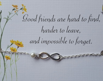 Best Friend Bracelet - Infinity Charm Bracelet with Pearl and Inspirational Card- Bridesmaids Gift - Friendship Bracelet - Bridal Party
