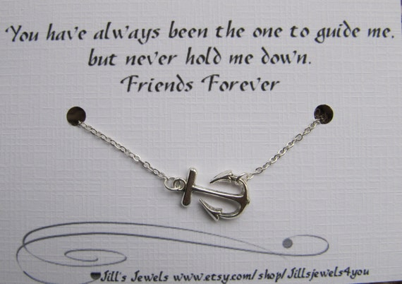 Best Friend Anchor Charm Necklace and Friendship Quote | Etsy