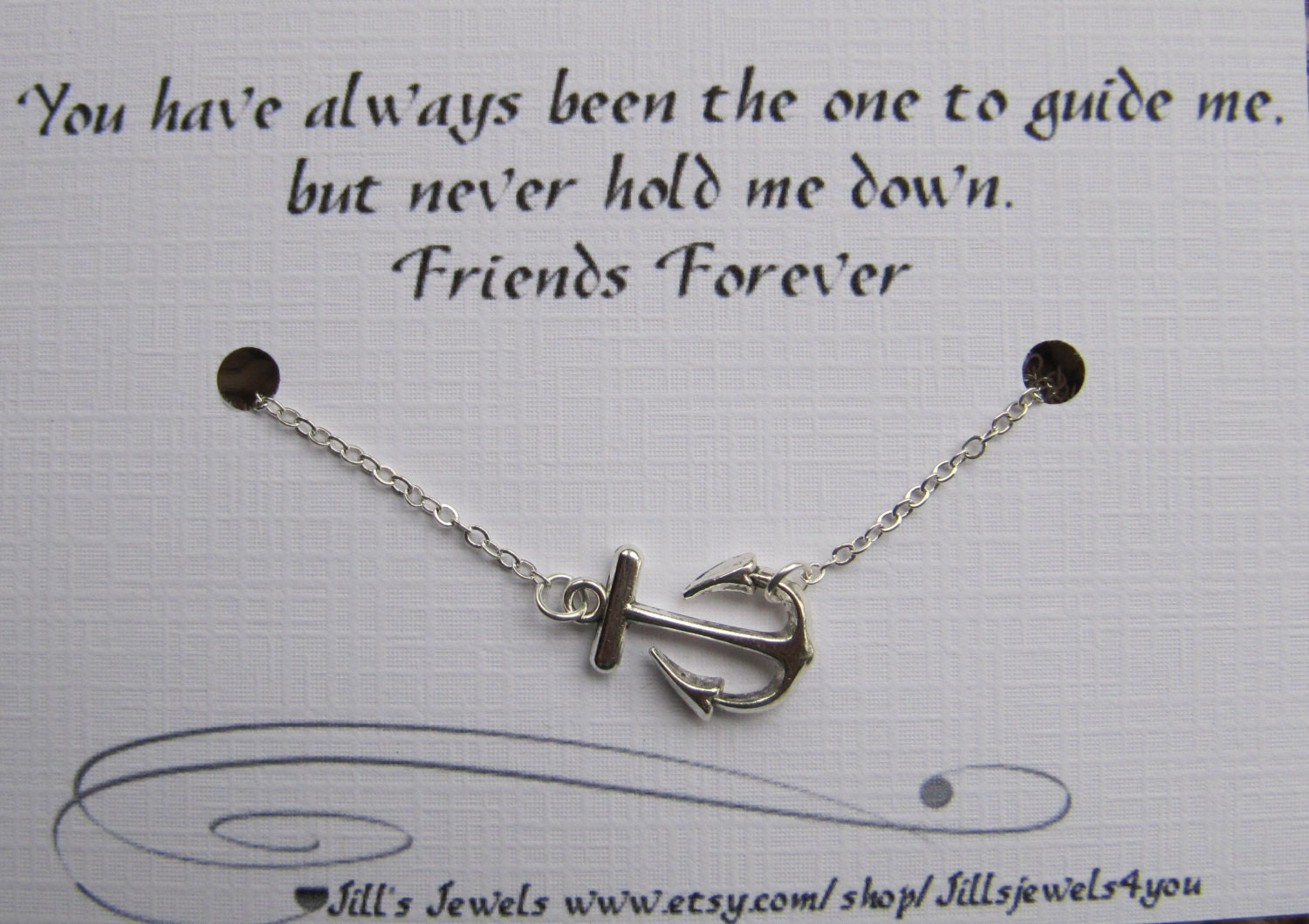 Best Friend Anchor Charm Necklace And Friendship Quote Etsy