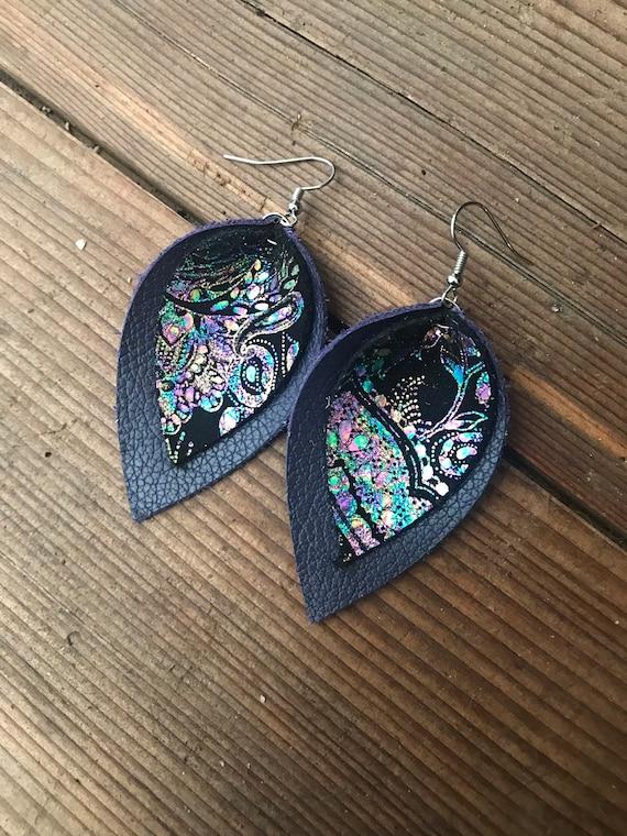 Leather earrings bar drop leather jewelry genuine leather earrings leather dangle boho earrings small earrings, handmade jewelry