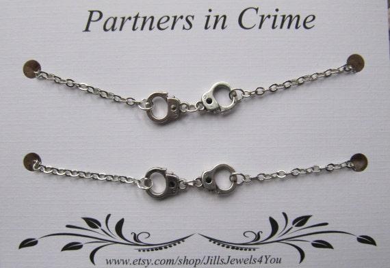 Charm Bracelet Best Friend gift Best Friend Triple Partners in Crime Bracelet with handcuff charms BFF gift 3 Friendship Bracelets
