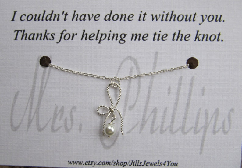 b551b2672a2 Thank you for helping me tie the knot, Personalized Necklace, Bow Necklace,  Bridesmaid Gift, Bridal Party Gift, Wedding Party Jewelry