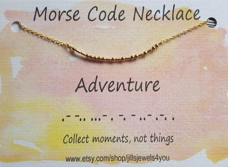 Gift For Her Going Away Present Adventure Awaits Graduation Gift Morse Code Necklace Adventure Necklace Wanderlust Travel Necklace