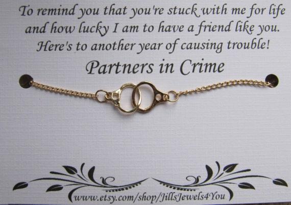 3 Friendship Bracelets Best Friend gift Charm Bracelet Best Friend Triple Partners in Crime Bracelet with handcuff charms BFF gift
