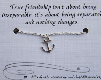 Anchor Anklet, Friendship Jewelry, Going Away, Long Distance Friendship,  Graduation Gift, Wanderlust, Best Friend, BFF Gift, Gifts for Her