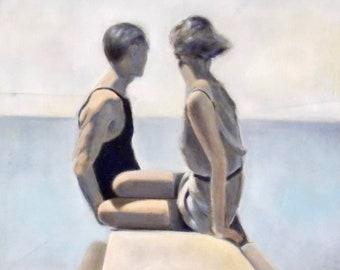 George Hoyningen-Huene copy, oil painting after George Hoyningen-Huene photo, man and woman bathing portrait, home decor