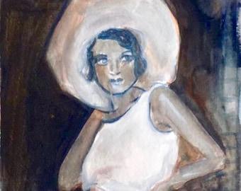 original gouache painting, gouache portrait, woman portrait, original portrait, gift for man, gift for woman, fashion, birthday, wedding