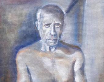 man portrait, gouache portrait, man torso, man painting, original gouache, gift for him, gift for her, original painting, original art, gift