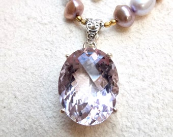 faceted pink amethyst beaded pendant necklace, beaded amethyst jewelry, amethyst and pearl pendant necklace, pink and champagne jewelry