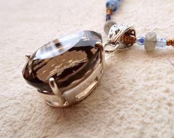 topaz necklace, topaz pendant, smokey topaz beaded necklace, smokey topaz pendant, smokey topaz jewelry, modern nouveau