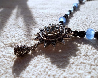 marcasite bead, marcasite pendant, Deco marcasite necklace, beaded marcasite jewelry, modern deco jewelry
