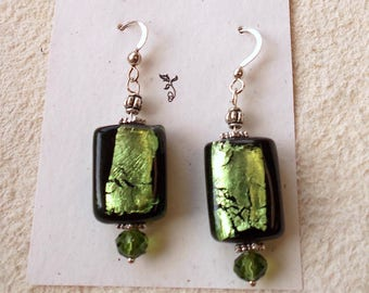 green foil earrings, green dangle earrings, dichroic drop earrings, modern nouveau, christmas for woman, stocking stuffer