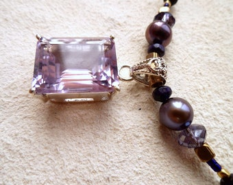faceted amethyst necklace, beaded amethyst jewelry, silver amethyst necklace, gift for her, woman's birthday
