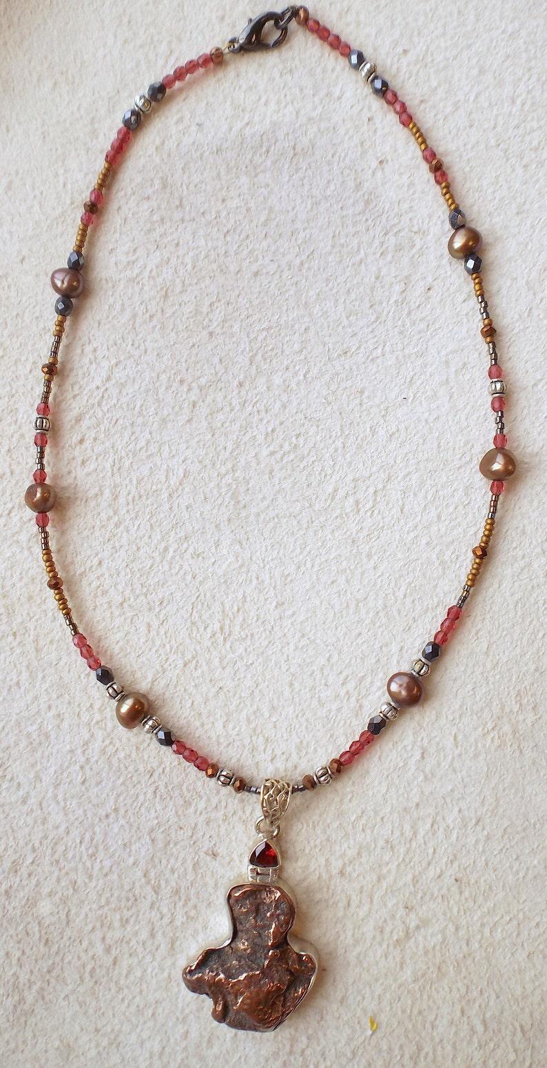 modern nouveau, raw copper jewelry beaded copper necklace copper pendant necklace