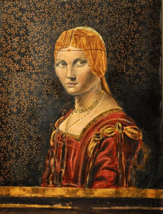 Leonardo Da Vinci Style La Belle Ferroniere Copy Renaissance Woman Portrait Mixed Media Renaissance Portrait Modern Renaissance