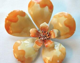 Vintage Orange & Yellow enamel Flower Pin