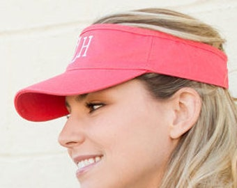 Personalized Coral Twill Visor Monogrammed Visor,   Sports Visor, Tennis Visor, Monogram Sun Visor