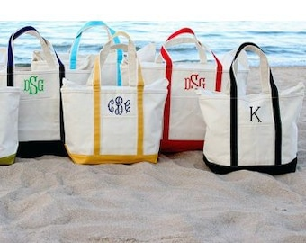 0cada62b7b81c 3 Sizes to choose Canvas Zipper Personalized Boat Tote Monogrammed Tote Bags  Teacher Gifts