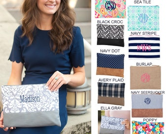 Personalized Zip Pouch Personalized Monogrammed Large Cosmetic Bag Zip Makeup Pouch Embroidered Perfect For Bridesmaids- Seersucker