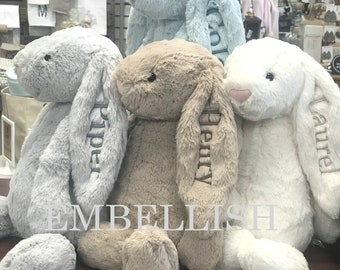 Personalized Baby Gift  Personalized Bunny Rabbit,Personalized Stuffed Animal,Personalized Jellycat Bunny,Monogrammed Bunny for Baby Shower