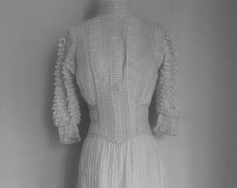 RESERVED for Roxanne Edwardian Dress Lace Cotton Wedding Garden Party Dress XS