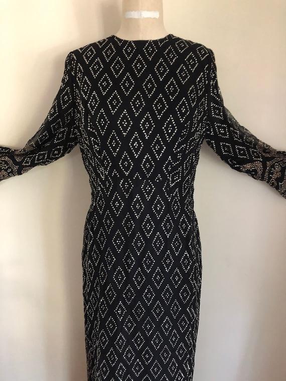 60's / 70's Maxi Dress Silk Black Glitter Gown