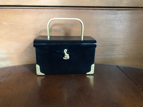 50's Lucite Purse Handbag Black Box  Mid-Century P