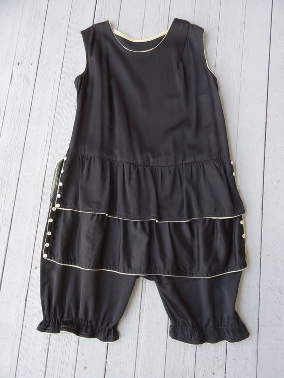 20's Bathing Suit Black Cotton Tiered Buttons Pant