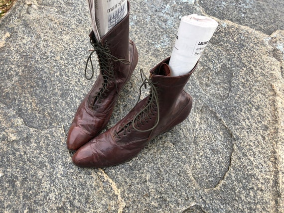 Edwardian Boots Leather Lace -Up Victorian Women's