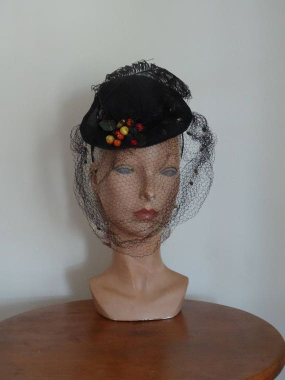 30's 40's Tilt Hat Straw Berries Feather Veiled Ha