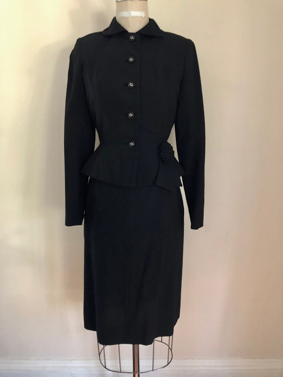 50's Black Suit Peplum Jacket Skirt Tapered Audrey