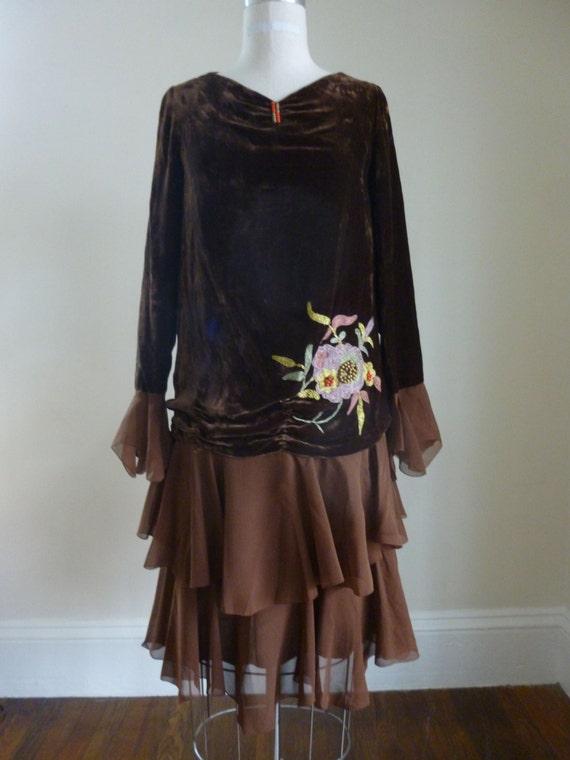 20's Silk Dress Velvet Brown Embroidered Dress Fla
