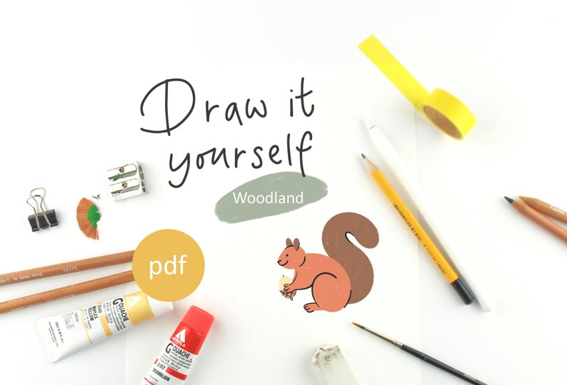 Woodland Animals Draw it Yourself Step by Step tutorial Set of image 0