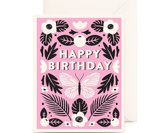 Botanical Happy Birthday Card | Pink, Floral, Flowers, Nature, Butterfly