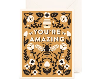 Botanical You're Amazing Card | Goldenrod, Mustard, Gold, Floral, Flowers, Nature, Butterfly