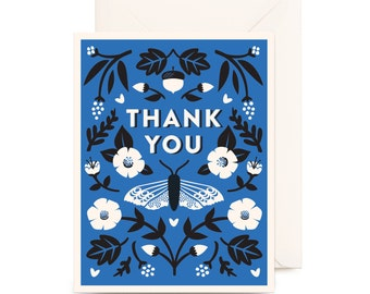 Botanical Thank You Card | Blue, Floral, Flowers, Nature, Butterfly