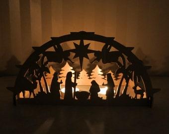 Nativity scene, Christmas decoration, manger scene, christmas decoration, christmas light decoration, nativity candle, schwibbogen