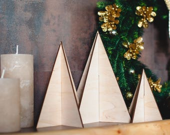 Wooden Christmas decoration, 3 Christmas trees made of plywood in natural color - modern home decor for New Years and Christmas eve