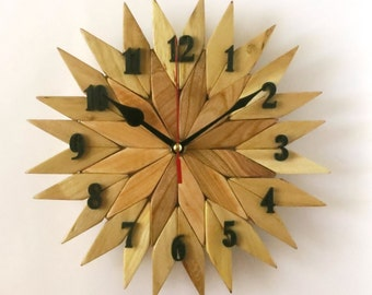 Wooden wall clock, art clock (N1)