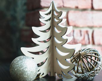 Wooden Christmas Tree, Christmas tree made of plywood in natural color, Christmas table decoration, stylish home decor for New Years eve