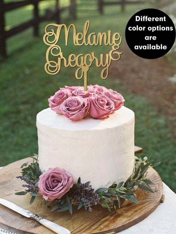 Personalized Name Cake Topper, Wedding cake topper gold Custom names, Mr and Mrs Cake Topper Gold, Cake topper with name, Silver Cake topper