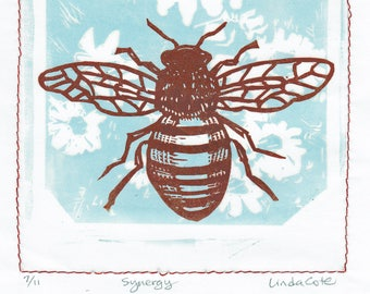 Synergy Linocut Relief Print, 2-Color Hand-Pulled Fine Art, Limited Edition, Printmaking Original