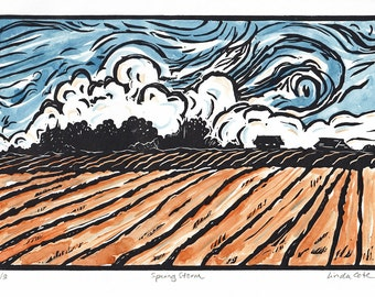 Spring Storm Linocut Relief Print, Hand Pulled Fine Art, Printmaking Original, Hand-Painted, Watercolor