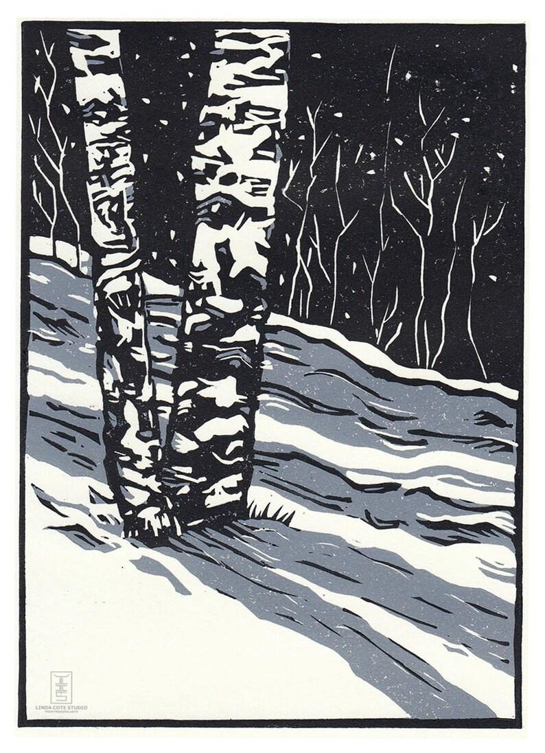 2 Color Linocut Reduction Print Printmaking Original Winter Aspens Limited Edition Hand Pulled Fine Art