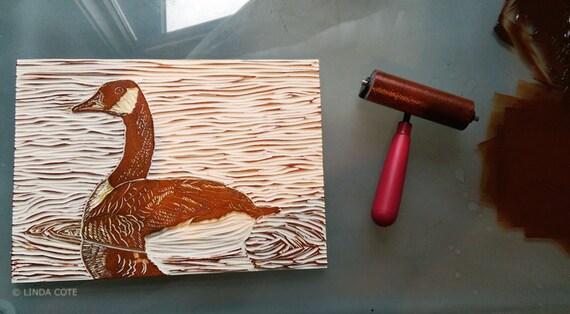 La Bernache du Canada, Relief linogravure 3 couleurs d'impression, oiseau, à la main tiré de Fine Art, tirage limité, gravure originale