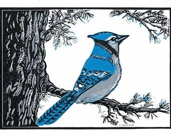 Blue Jay's Perch, 3 Color Linocut Relief Print, Bird, Hand Pulled Fine Art, Limited Edition, Printmaking Original