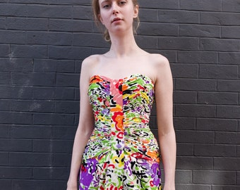VINTAGE 1980s Strapless Garden Party Mini Dress  XS Fun Fitted