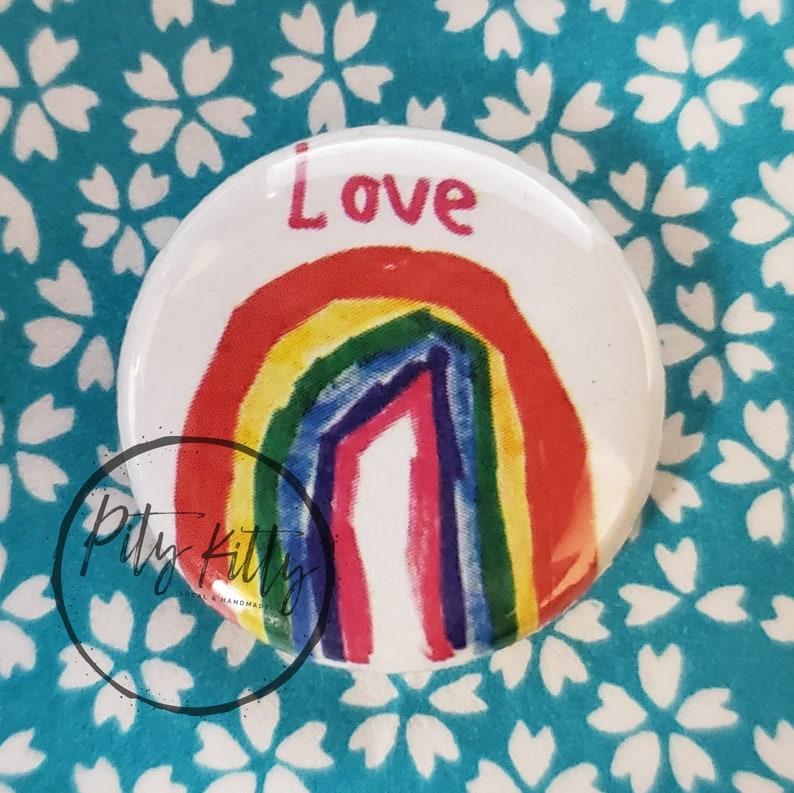 2.25 Button  Love Rainbow image 0