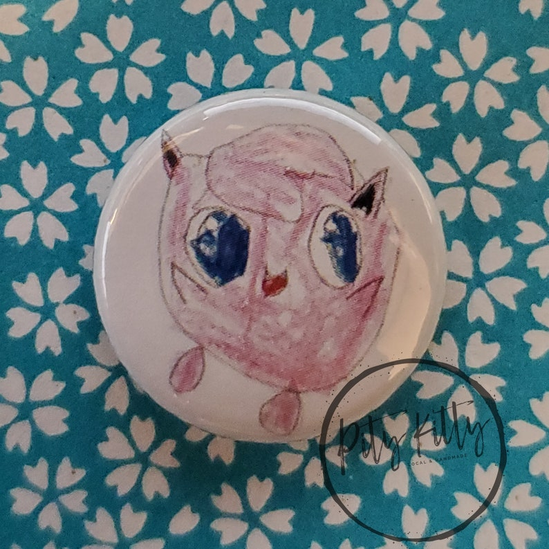 1 Button  Jigglypuff  Pokémon inspired image 0
